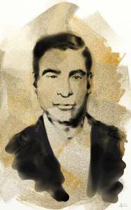Retrato de Aniano Jiménez exhibido en la exposición conmemorativa de Estella.