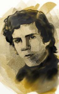 Retrato de Ricardo García Pellejero en la exposición de Estella.